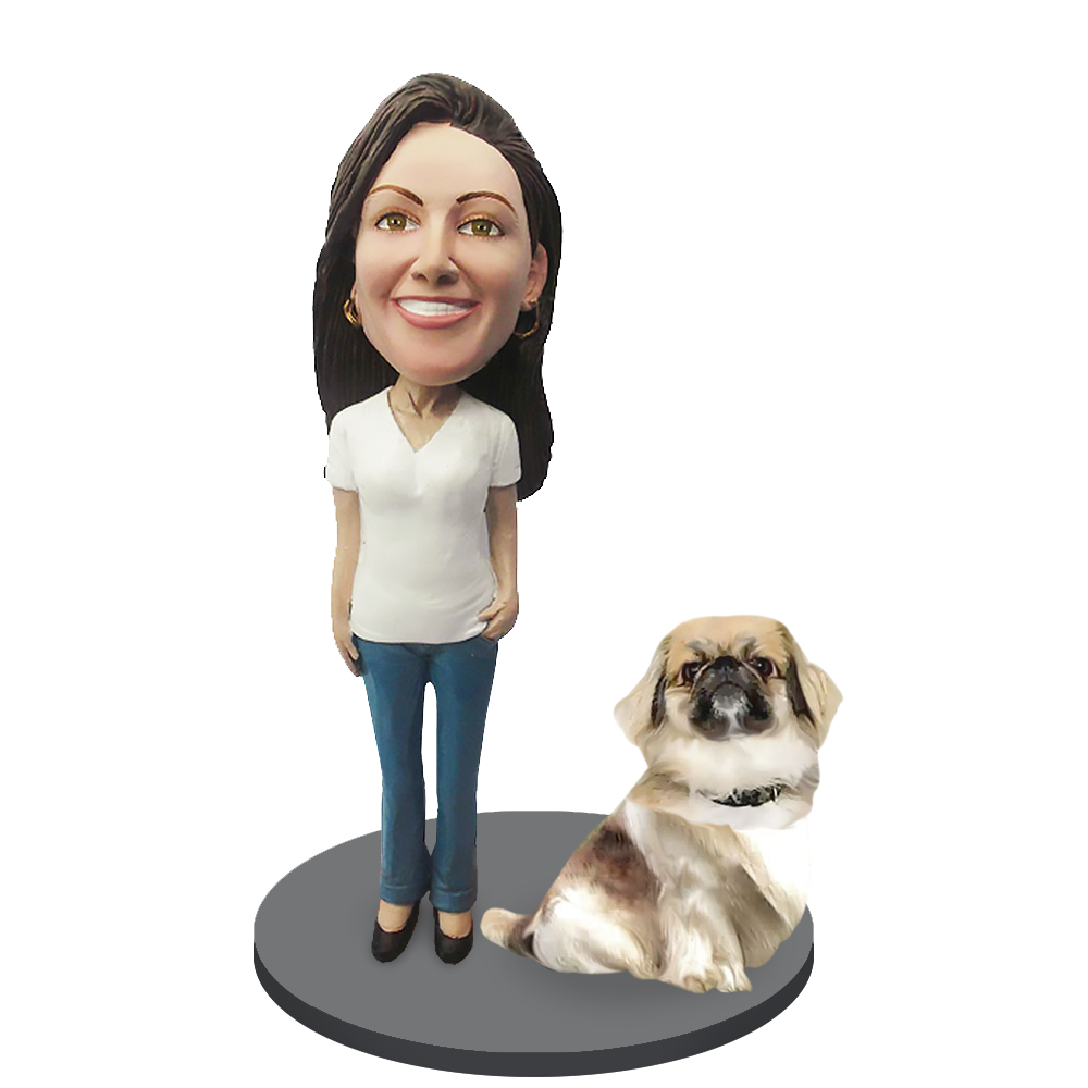 Custom female with Custom Pet Dog Bobblehead - Pekingese