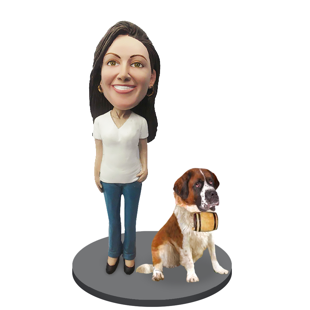 Custom female with Custom Pet Dog Bobblehead - St.Bernard