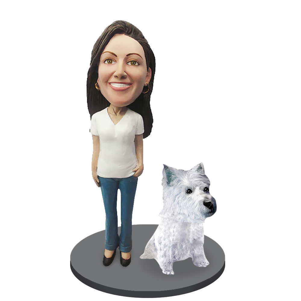 Custom female with Custom Pet Dog Bobblehead - Westhighland Terrier