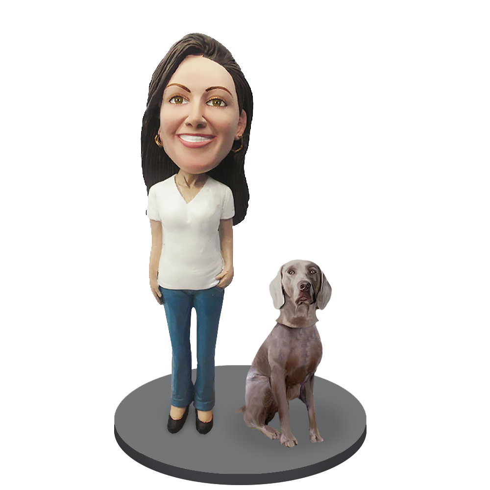 Custom female with Custom Pet Dog Bobblehead - Wimariner