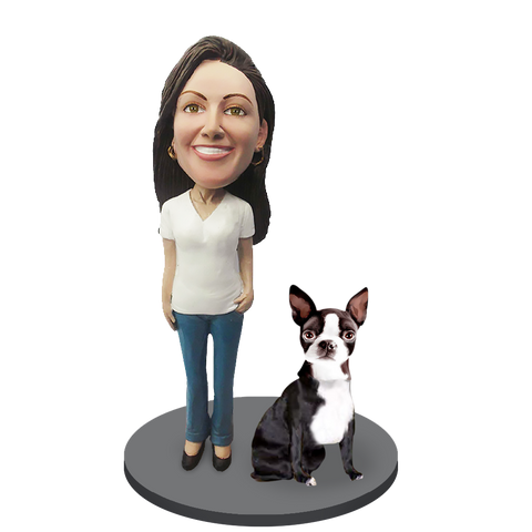 Custom female with Custom Pet Dog Bobblehead - Boston Terrier