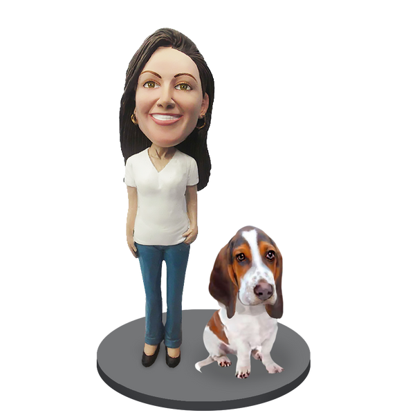 Custom female with Custom Pet Dog Bobblehead - Basset Hound