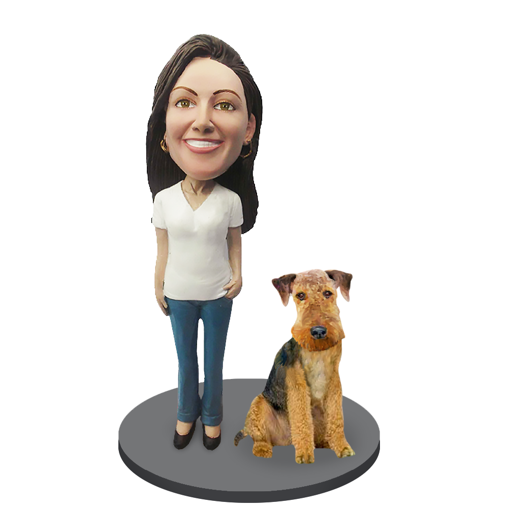 Custom female with Custom Pet Dog Bobblehead - Airedale