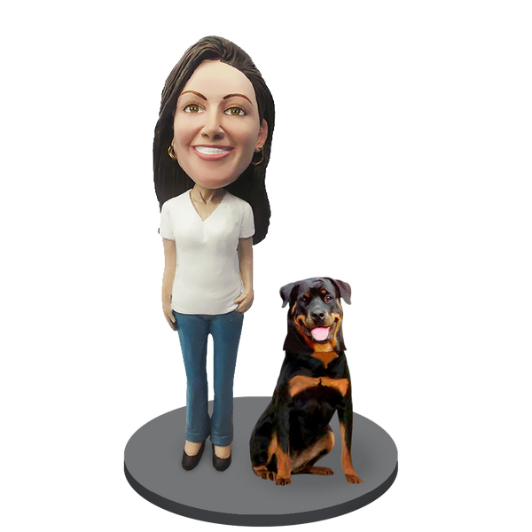 Custom female with Custom Pet Dog Bobblehead - Rottweiler