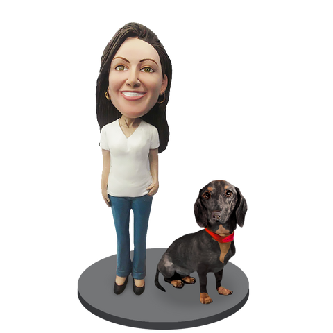 Custom female with Custom Pet Dog Bobblehead - Dachshund