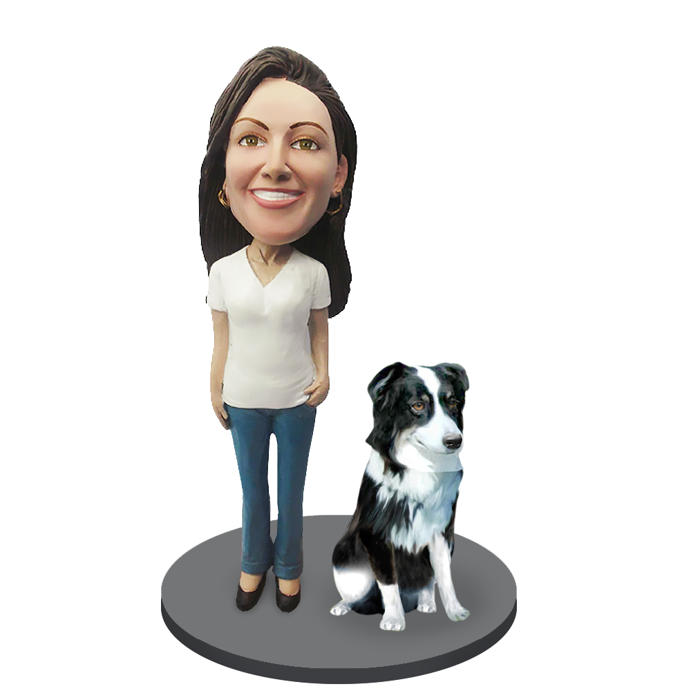 Custom female with Custom Pet Dog Bobblehead - Australian Shepherd