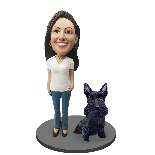 Custom female with Custom Pet Dog Bobblehead - Scottish Terrier