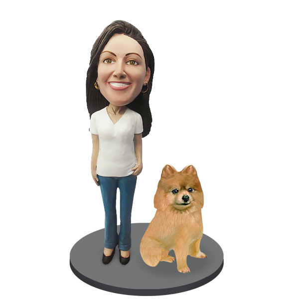 Custom female with Custom Pet Dog Bobblehead - Pomeranian