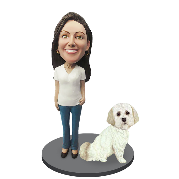 Custom female with Custom Pet Dog Bobblehead - Shih Tzu