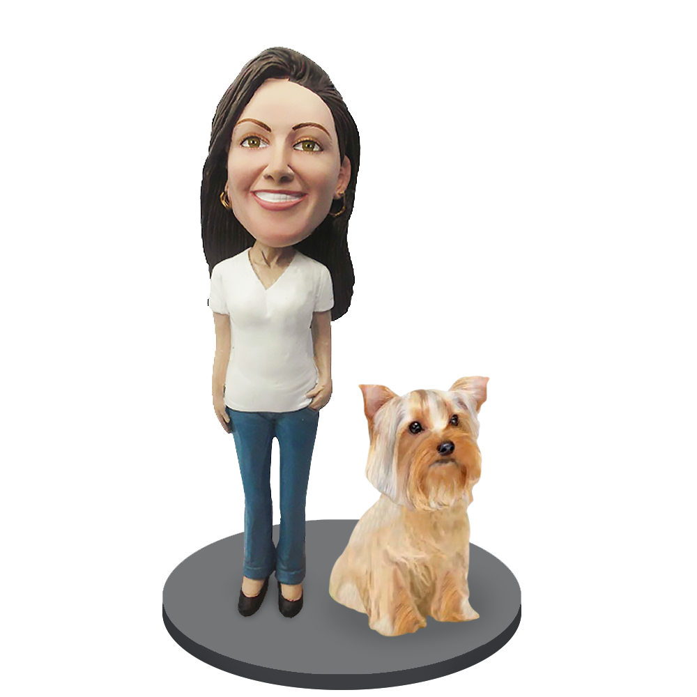 Custom female with Custom Pet Dog Bobblehead - Yorkshire Terrier
