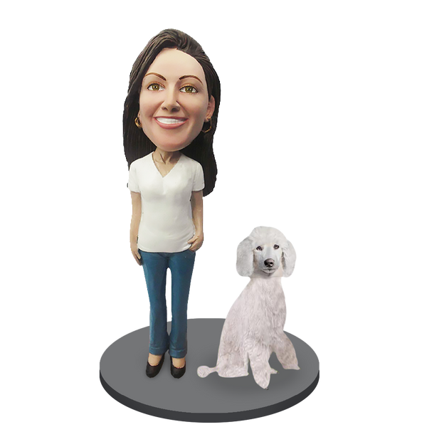Custom female with Custom Pet Dog Bobblehead - Poodle White