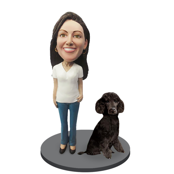 Custom female with Custom Pet Dog Bobblehead - Poodle Black Miniature