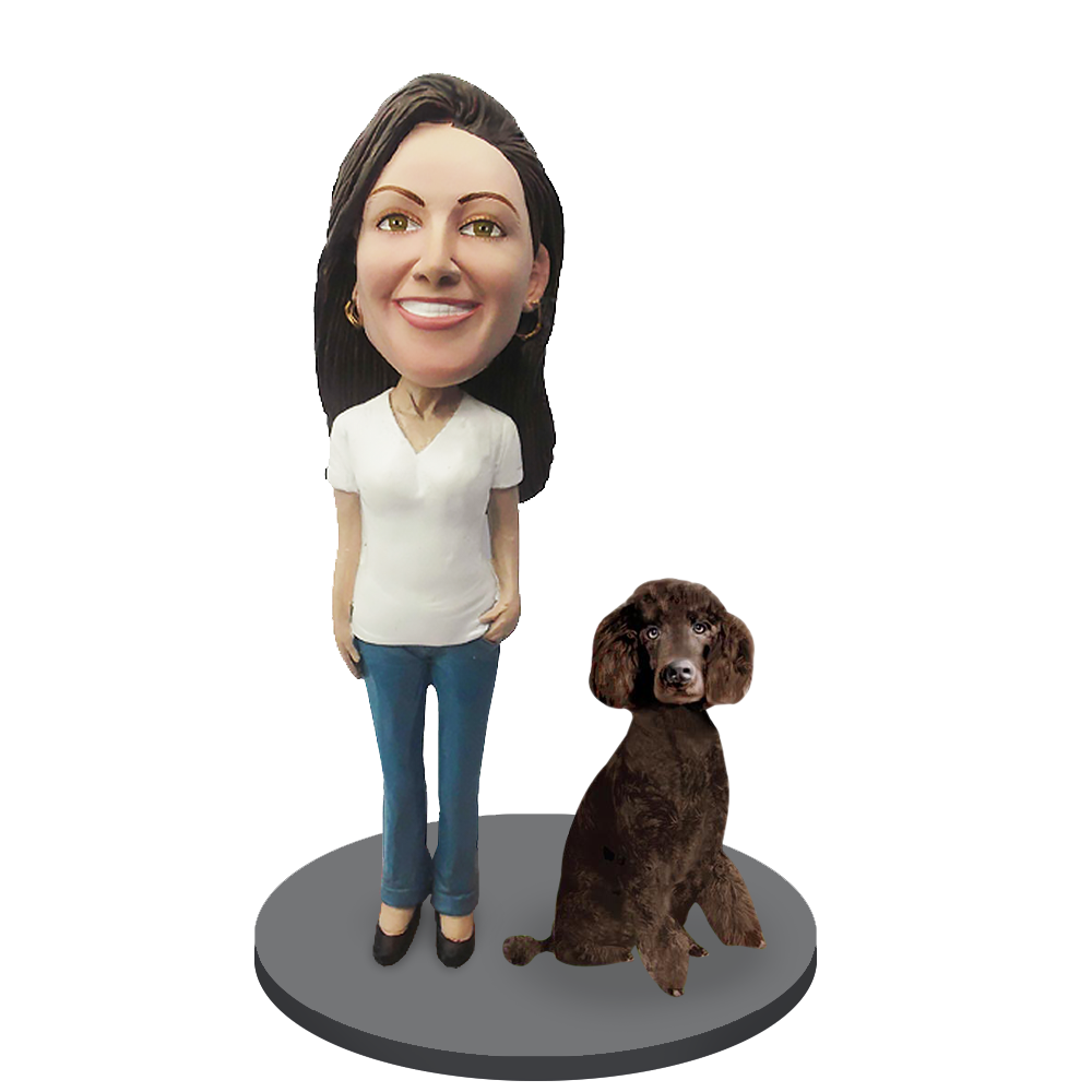Custom female with Custom Pet Dog Bobblehead - Poodle Brown