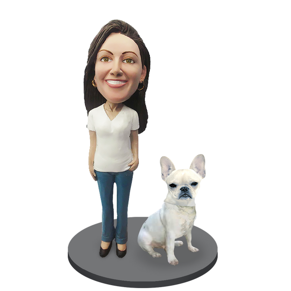 Custom female with Custom Pet Dog Bobblehead - French Bulldog Cream