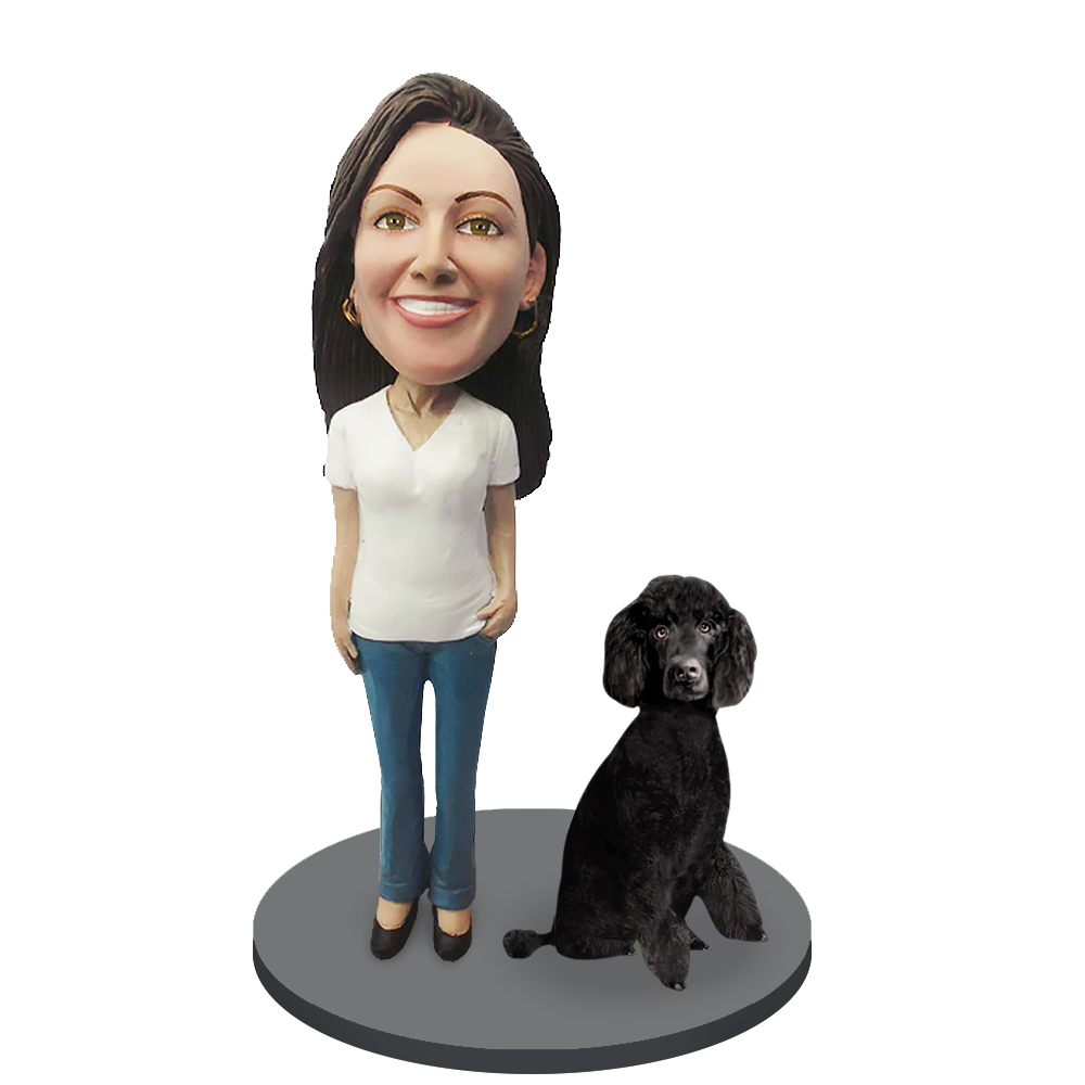 Custom female with Custom Pet Dog Bobblehead - Poodle Black