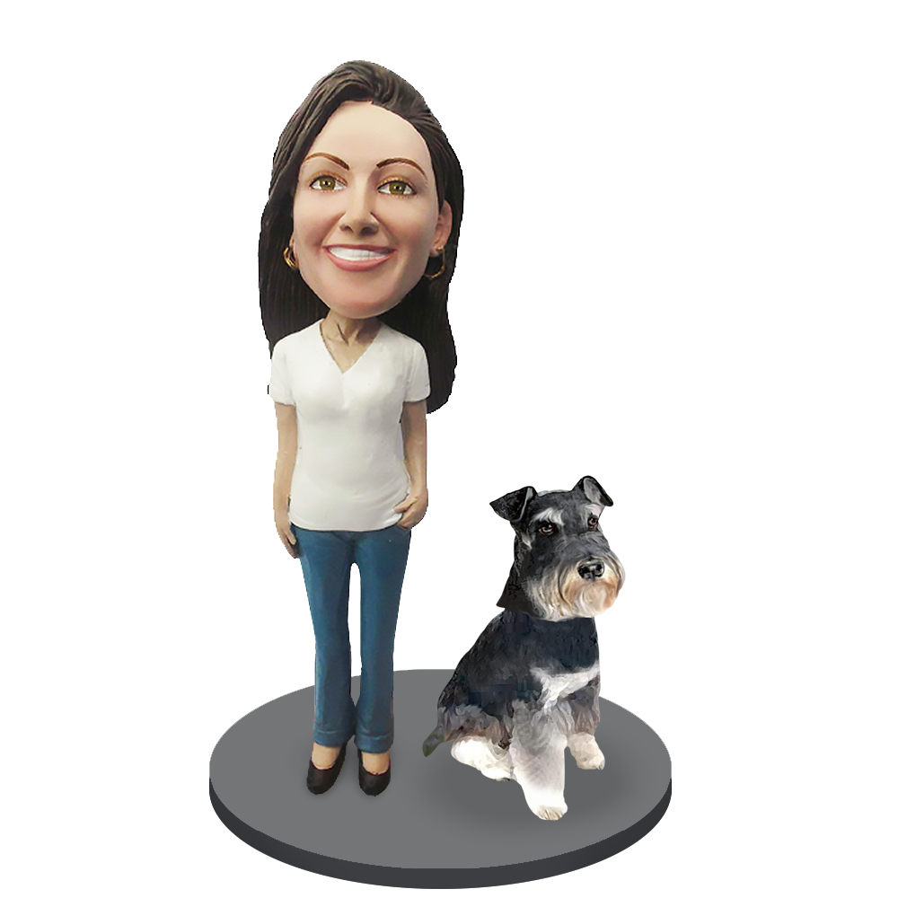 Custom female with Custom Pet Dog Bobblehead - Schnauzer Mini