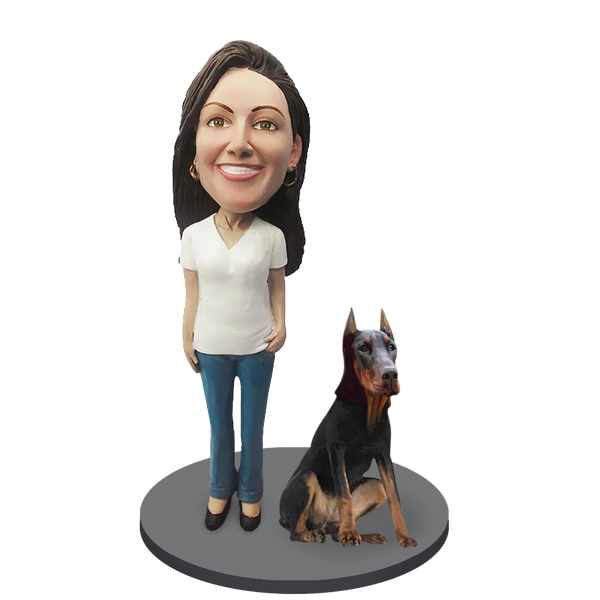 Custom female with Custom Pet Dog Bobblehead - Doberman Pinscher