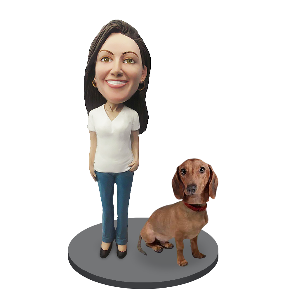 Custom female with Custom Pet Dog Bobblehead - Dachshund Brown