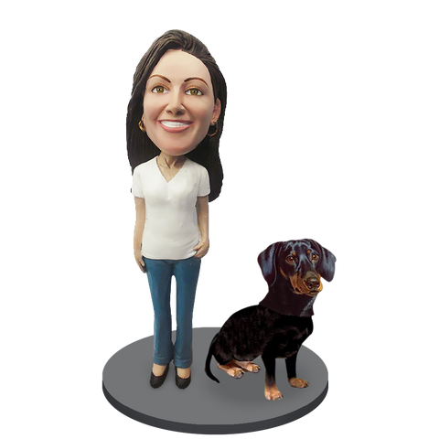 Custom female with Custom Pet Dog Bobblehead - Dachshunds