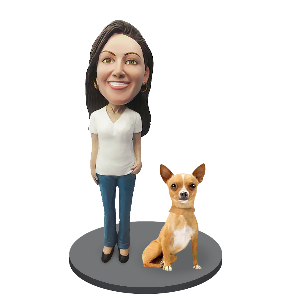 Custom female with Custom Pet Dog Bobblehead - Chihuahuas Fawn