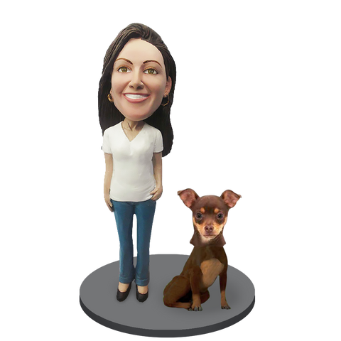 Custom female with Custom Pet Dog Bobblehead - Chihuahuas Brown