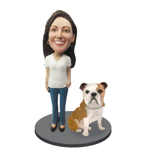 Custom female with Custom Pet Dog Bobblehead - Bulldog