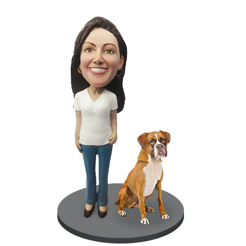 Custom female with Custom Pet Dog Bobblehead - Boxer Gold