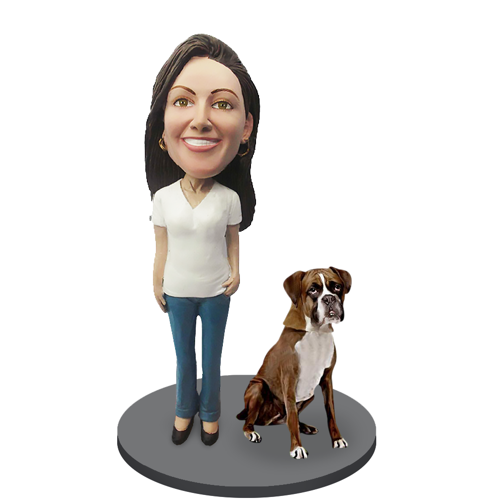 Custom female with Custom Pet Dog Bobblehead - Boxer Brown