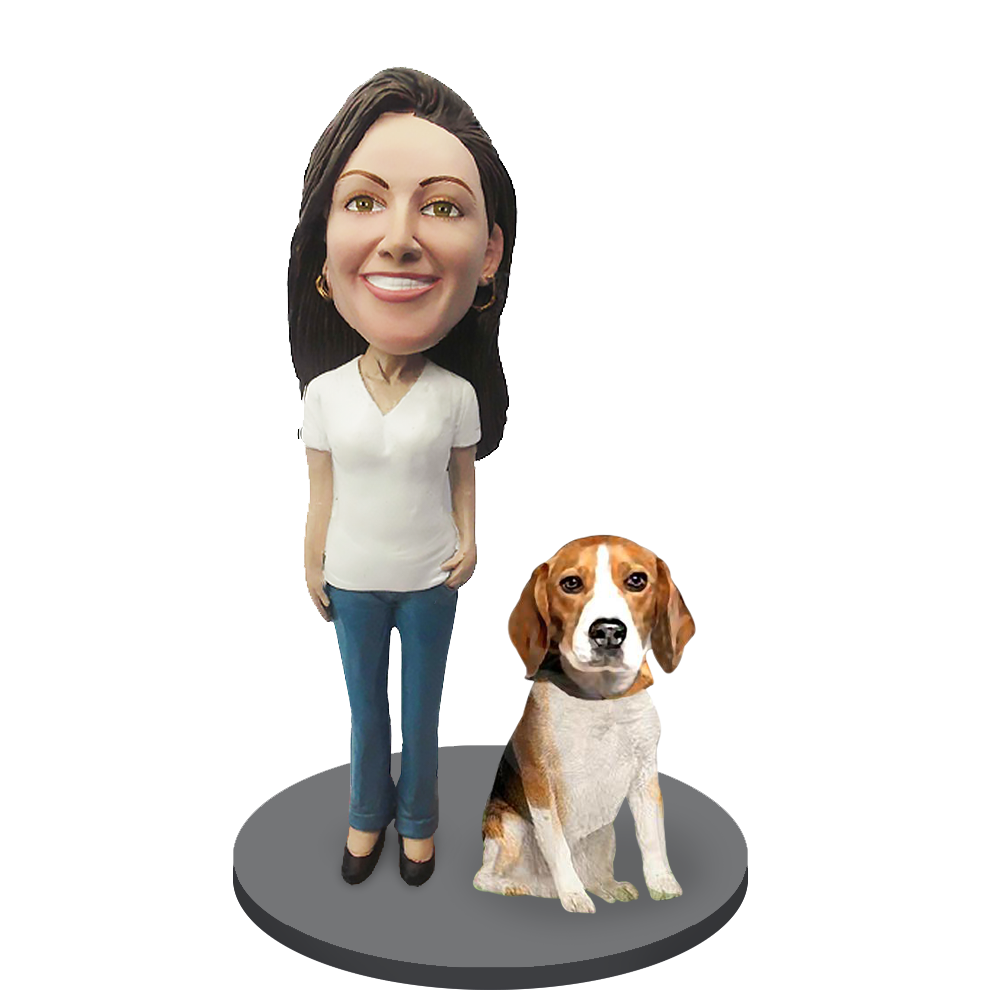 Custom female with Custom Pet Dog Bobblehead - Beagle