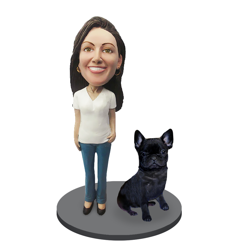 Custom female with Custom Pet Dog Bobblehead - French Bulldog Black