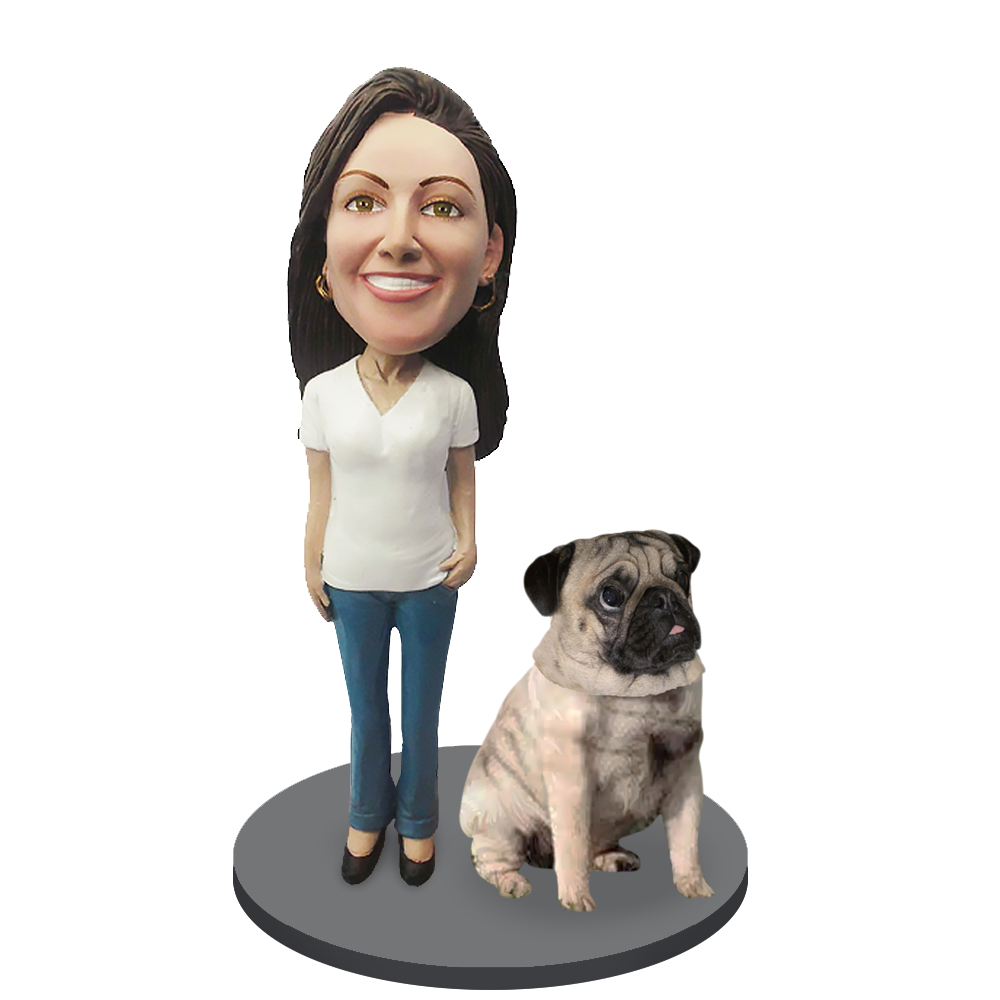Custom female with Custom Pet Dog Bobblehead - Pug Fawn