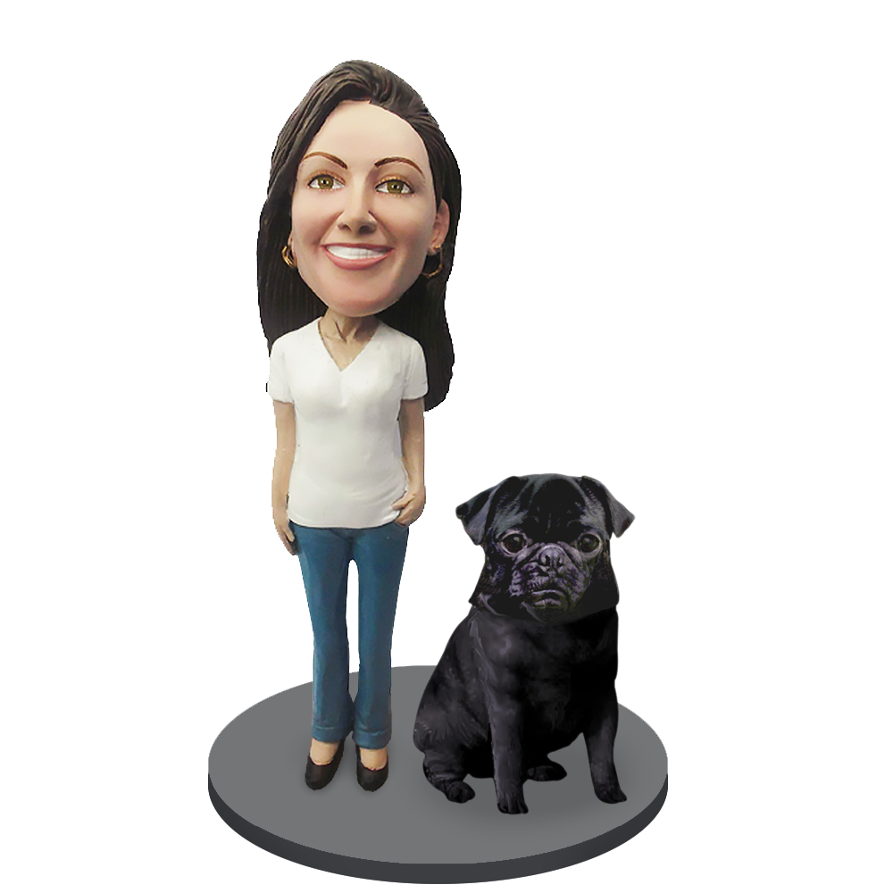 Custom female with Custom Pet Dog Bobblehead - Pug Black