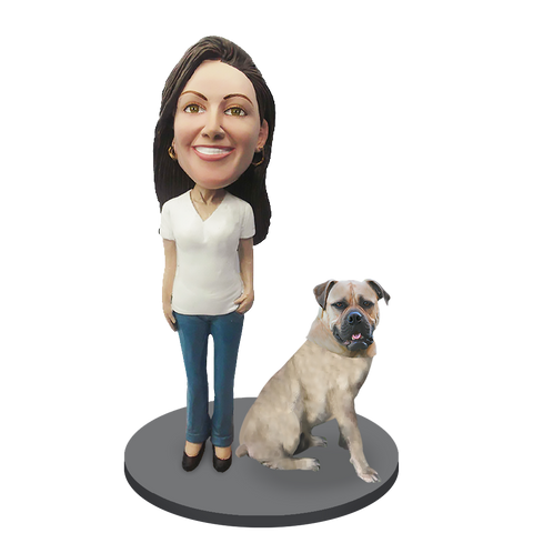 Custom female with Custom Pet Dog Bobblehead - Bull Mastiff White Fawn