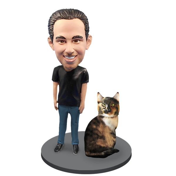 Custom Male with Custom Pet Cat Bobblehead - Calico Cat