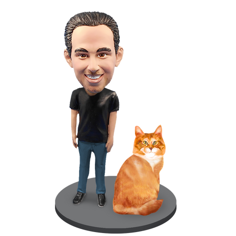 Custom Male with Custom Pet Cat Bobblehead - Orange Tabby Cat