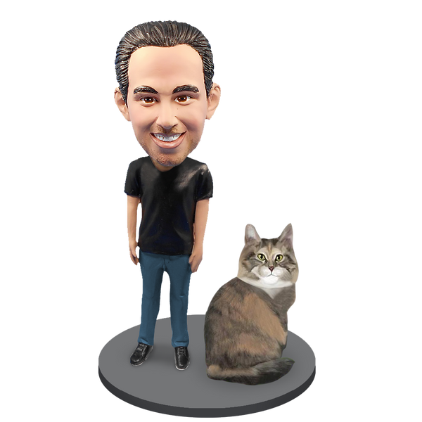 Custom Male with Custom Pet Cat Bobblehead - Maine Coon Cat
