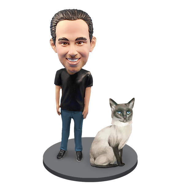 Custom Male with Custom Pet Cat Bobblehead - Siamese Cat