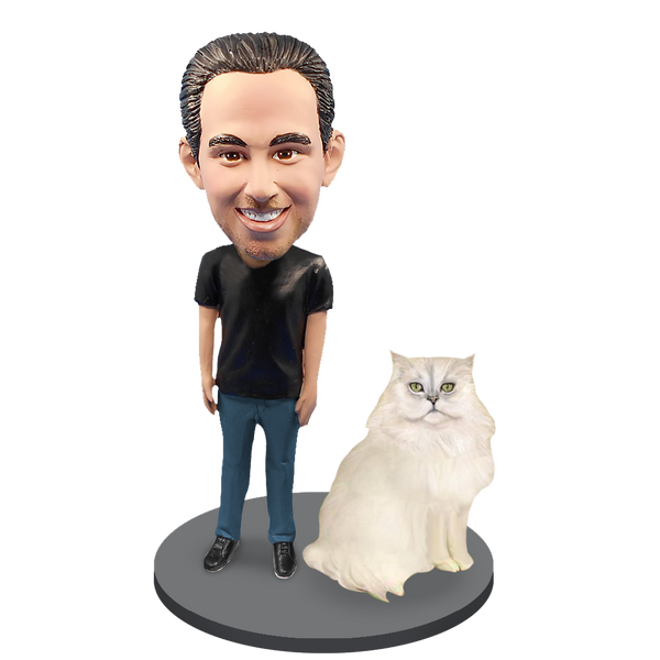 Custom Male with Custom Pet Cat Bobblehead - Persian Cat White