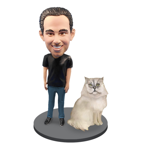 Custom Male with Custom Pet Cat Bobblehead - Persian Cat Grey