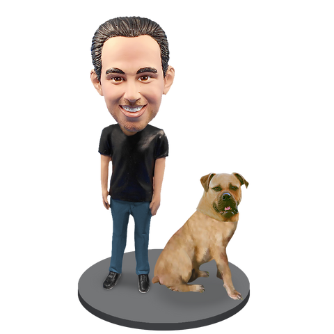 Custom Male with Custom Pet Dog Bobblehead - Bull Mastiff Yellow Fawn