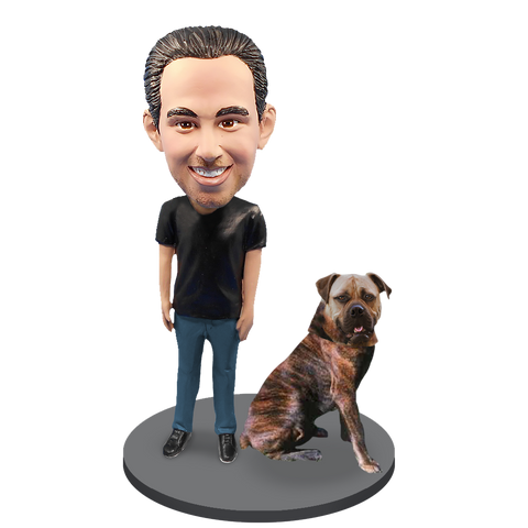 Custom Male with Custom Pet Dog Bobblehead - Bull Mastiff Brindle