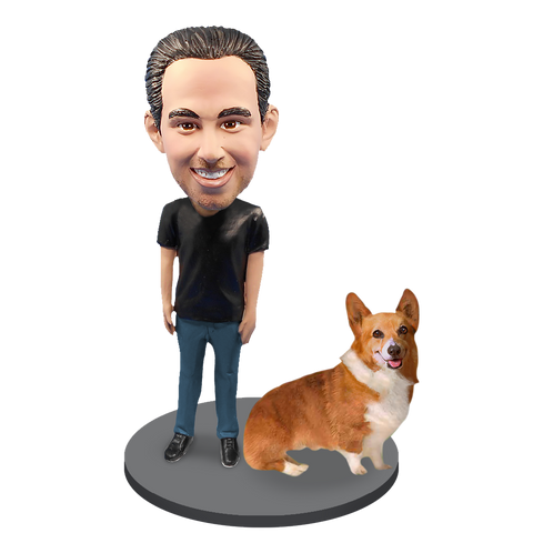 Custom Male with Custom Pet Dog Bobblehead - Corgi