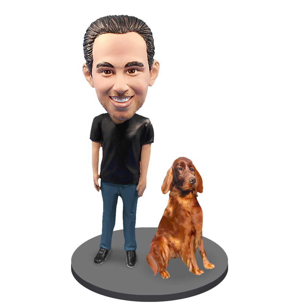 Custom Male with Custom Pet Dog Bobblehead - Irish Setter
