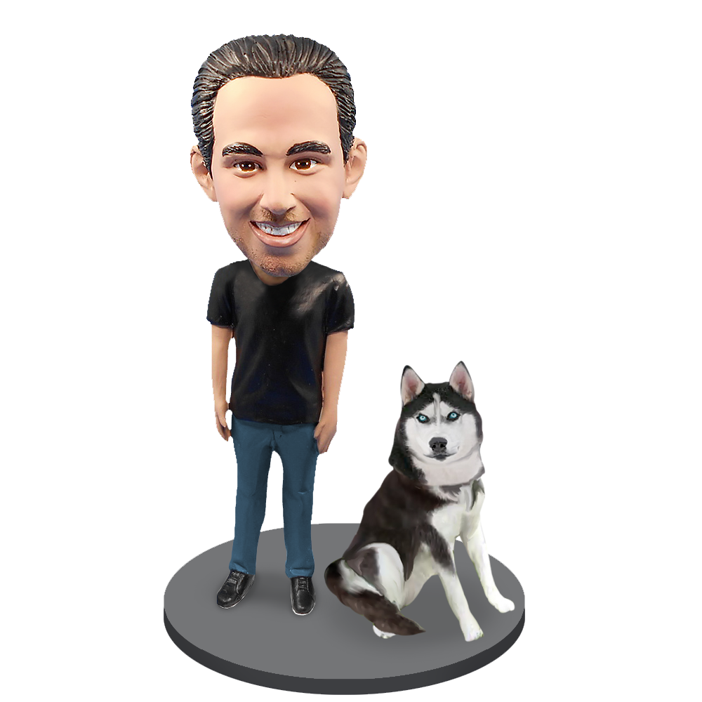 Custom Male with Custom Pet Dog Bobblehead - Husky