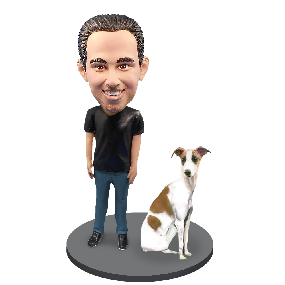 Custom Male with Custom Pet Dog Bobblehead - Grey Hound