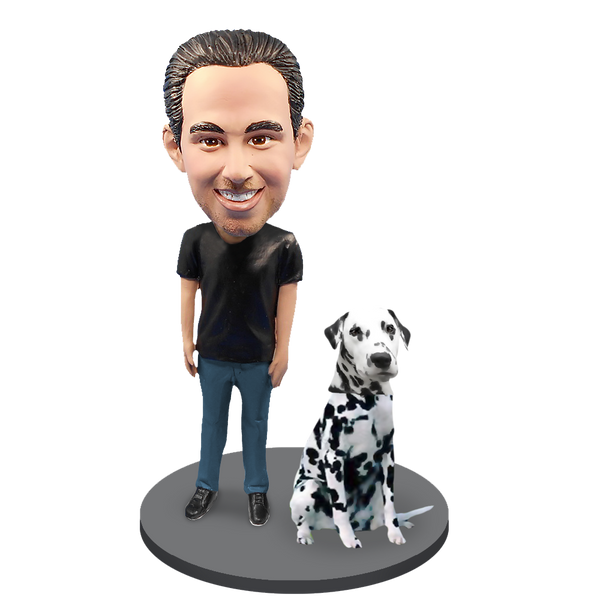 Custom Male with Custom Pet Dog Bobblehead - Dalmation