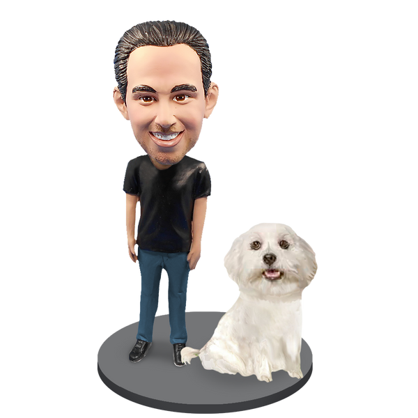 Custom Male with Custom Pet Dog Bobblehead - Maltese