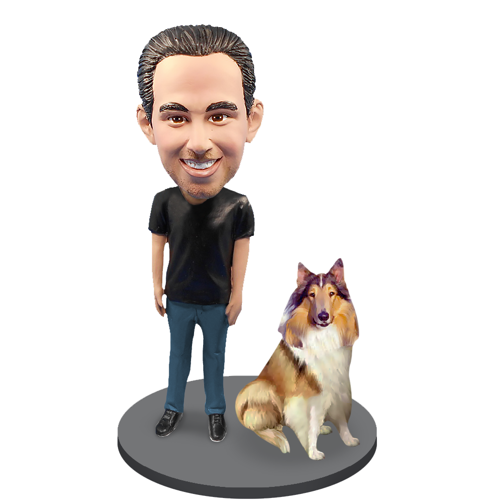 Custom Male with Custom Pet Dog Bobblehead - Collie