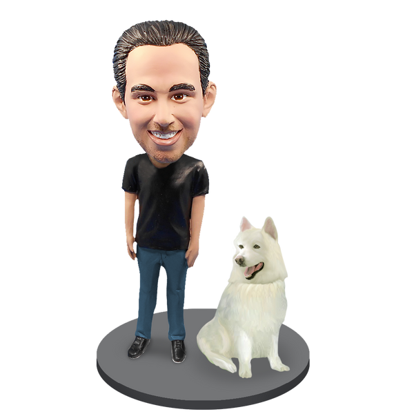 Custom Male with Custom Pet Dog Bobblehead - Samoyed