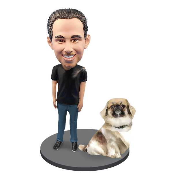 Custom Male with Custom Pet Dog Bobblehead - Pekingese